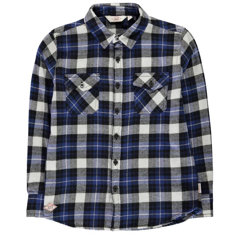 Košile Lee Cooper Flannel Long Sleeve Shirt Junior Boys Black/Blue/Wht