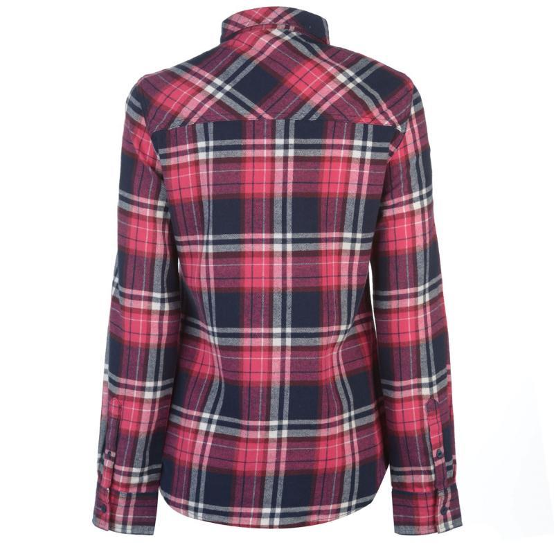 Košile Lee Cooper Flannel Long Sleeve Shirt Ladies Fuschia/Wht/Nvy