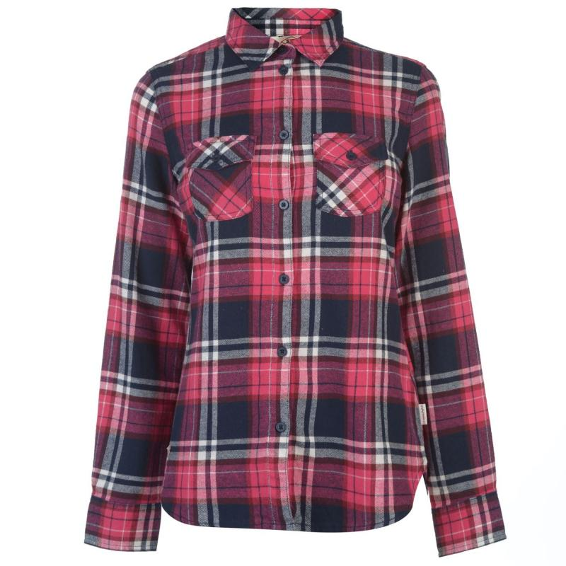 Košile Lee Cooper Flannel Long Sleeve Shirt Ladies Fuschia/Wht/Nvy