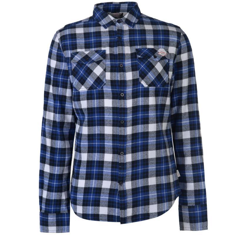Lee Cooper Flannel Long Sleeve Shirt Mens Black/Blue/Wht