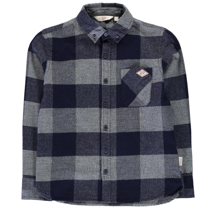 Košile Lee Cooper Soft Check Long Sleeve Shirt Junior Boys Navy/Blue