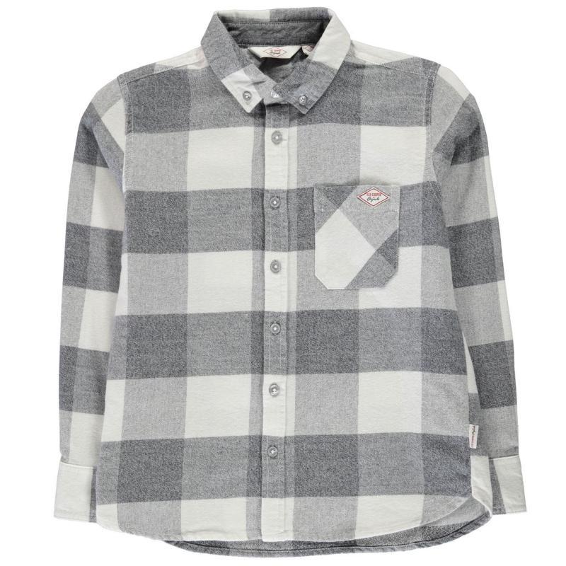 Košile Lee Cooper Soft Check Long Sleeve Shirt Junior Boys Grey/White