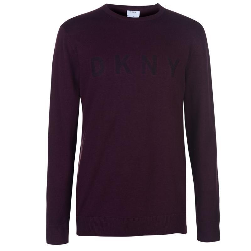Mikina DKNY Felt Logo Crew Sweater Mens Boardeaux