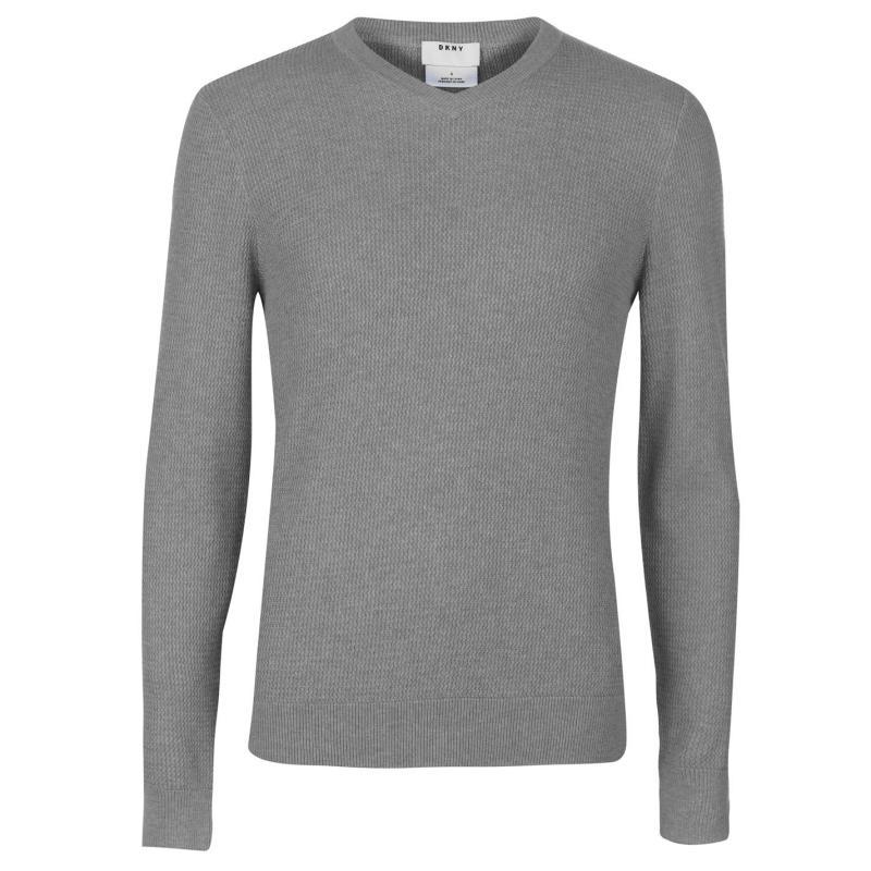 Mikina DKNY V Neck Knit Jumper Mens Grey