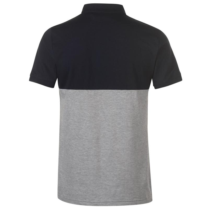 French Connection Block Coloured Polo Shirt Marine Grey Lig