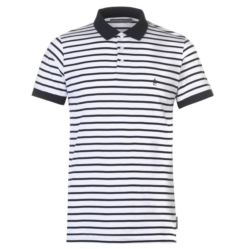 French Connection Striped Polo Shirt White Marine