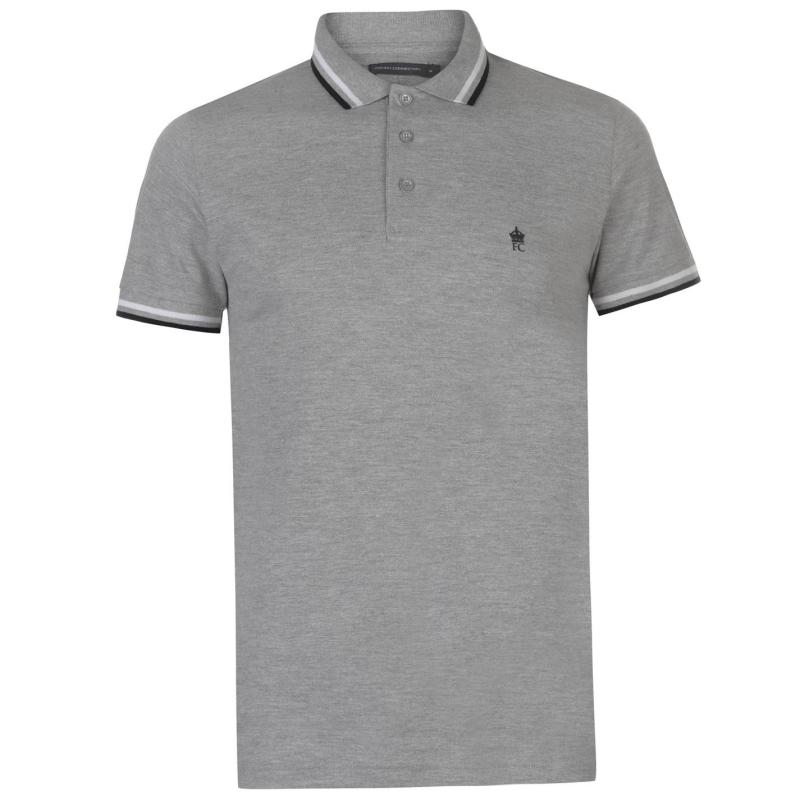 French Connection Tipped Pique Polo Shirt Mens Grey Light Mel