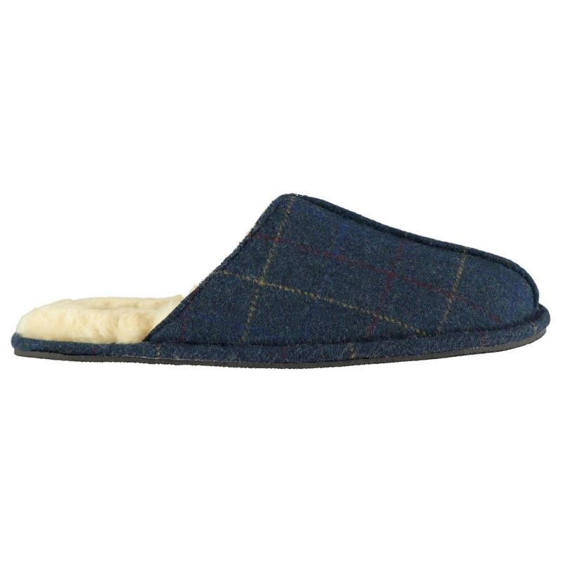 Howick Howick Check Tweed Mens Slippers Navy/Green
