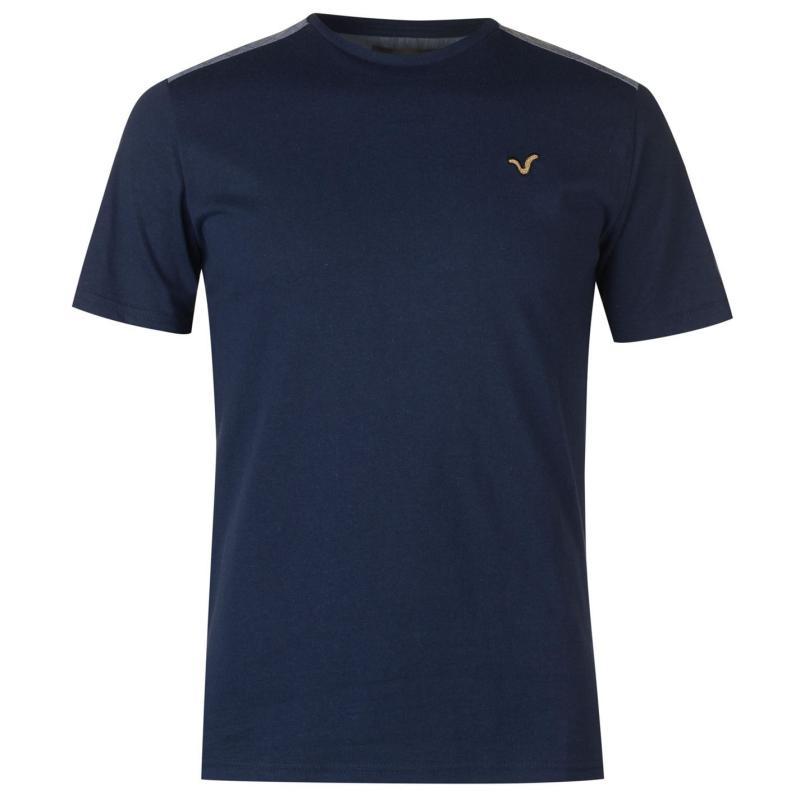 Tričko VOI Chambray Shoulder T Shirt Mens Navy