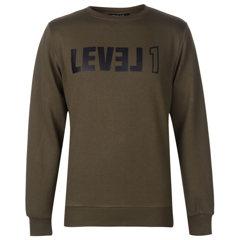 Mikina Level 1 Coniston Sweater Mens Burnt Olive