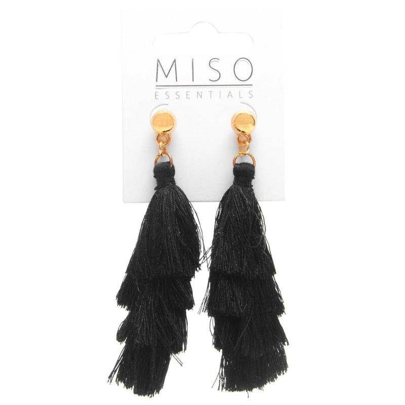 Miso Tassle Earrings Black
