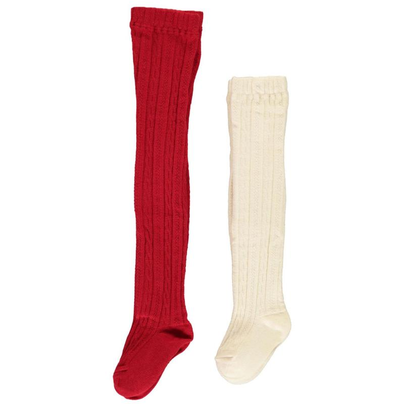 Crafted Essentials 2 Pack Cable Tights Infant Girls Red/Cream Cable