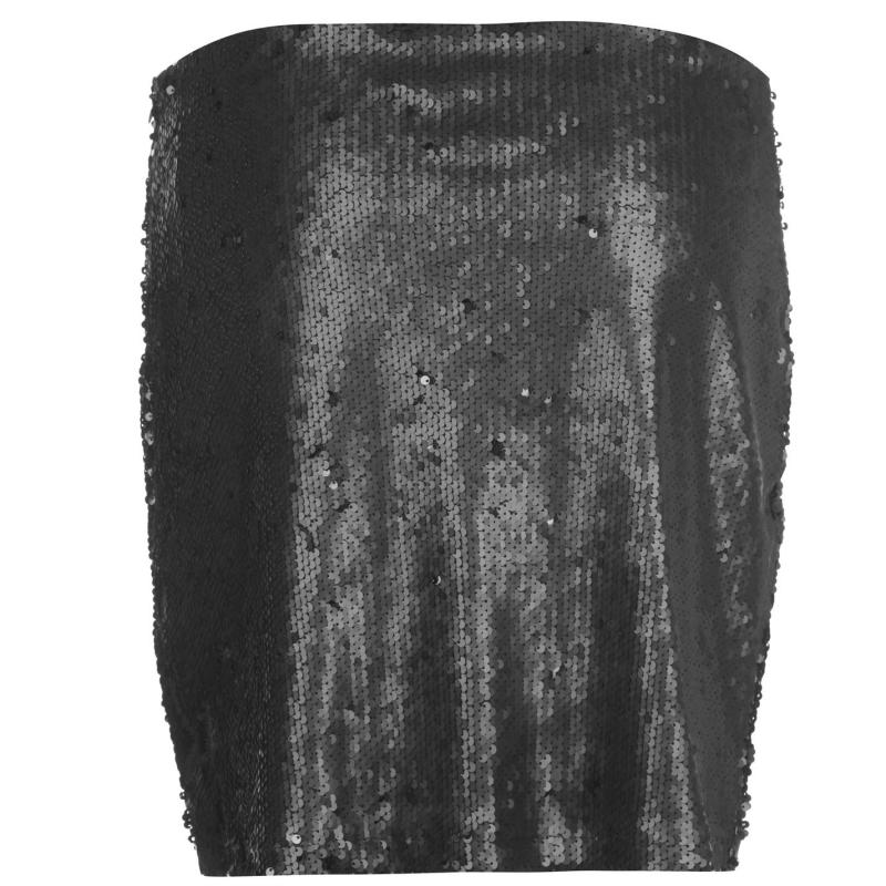 Sukně Golddigga Sequin Skirt Ladies Black