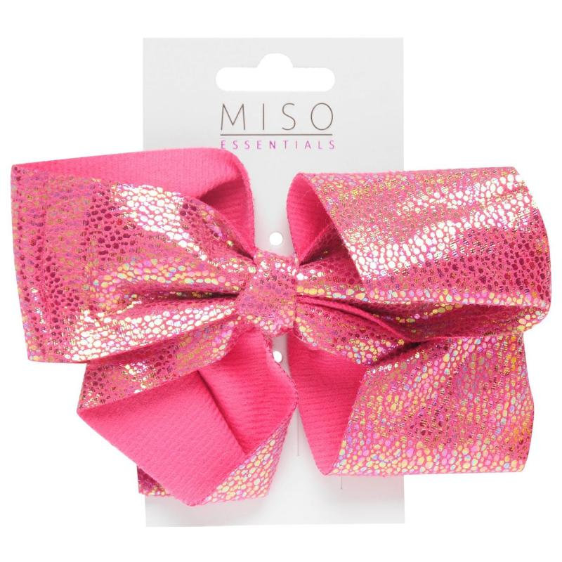 Miso Iridescent Junior Girls Bow Bright Pink