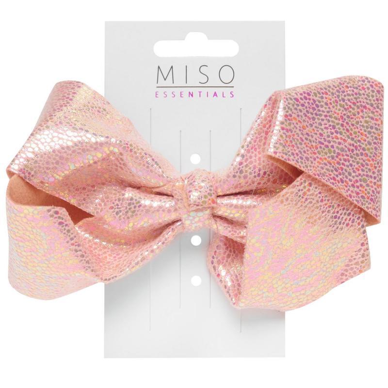 Miso Iridescent Junior Girls Bow Bright Pink