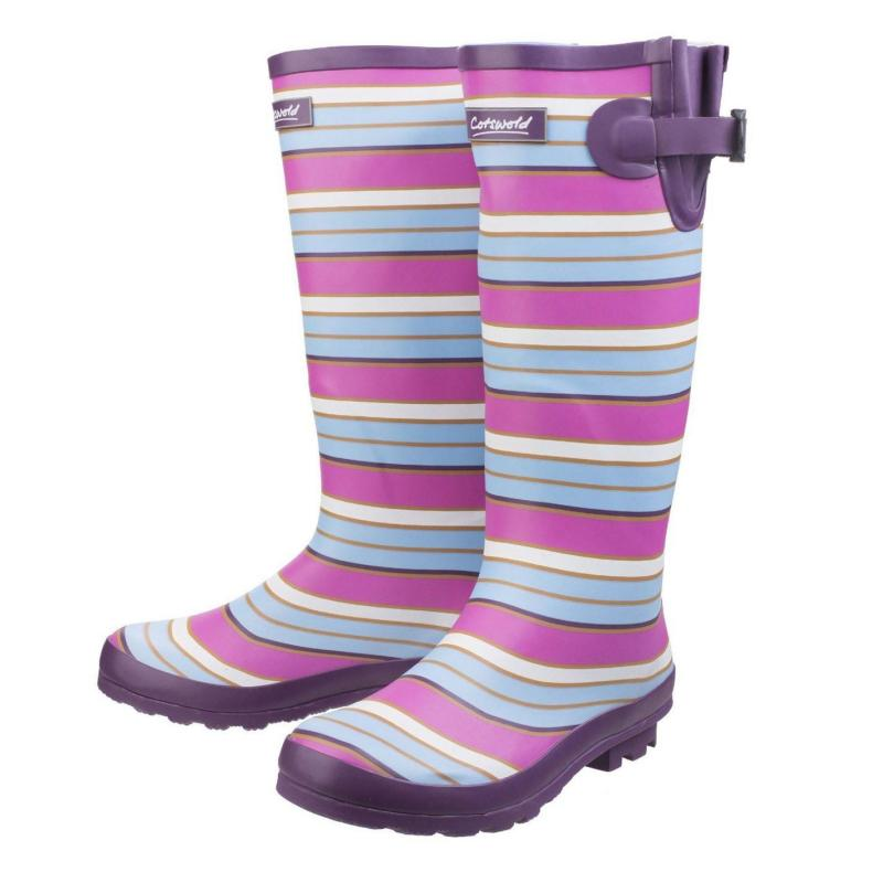 Boty Cotswold Wadeberry Wellies Ladies Berry Stripe