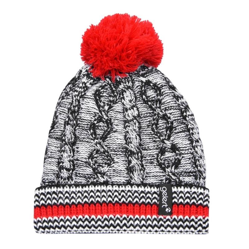 Gelert Cable Knit PomPom Beanie Juniors Black/Red