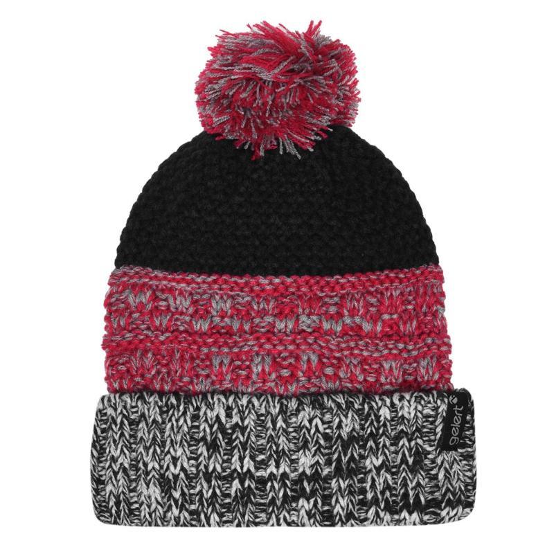 Gelert Knitted Pompom Hat Junior Girls Navy/Pink