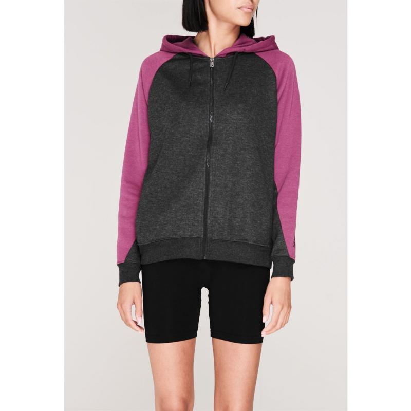 Mikina LA Gear Cut and Sew Full Zipped Hoody Ladies Charcoal/Purple