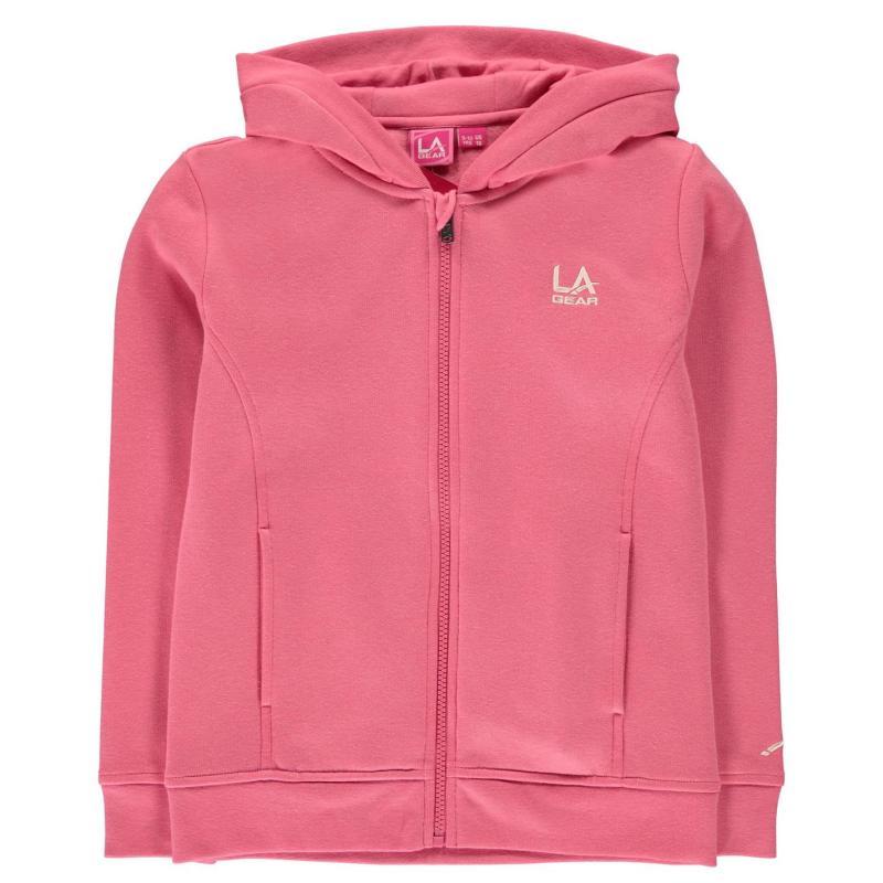 LA Gear Full Zip Hoody Junior Girls Pink