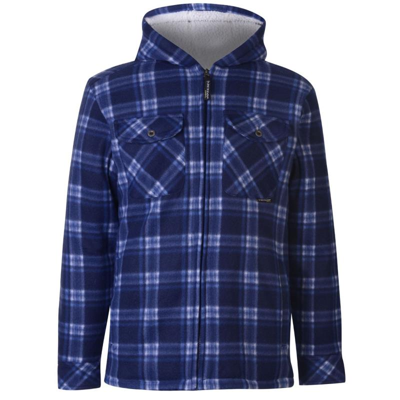 Dunlop Full Zip Checked Hoodie Mens Navy
