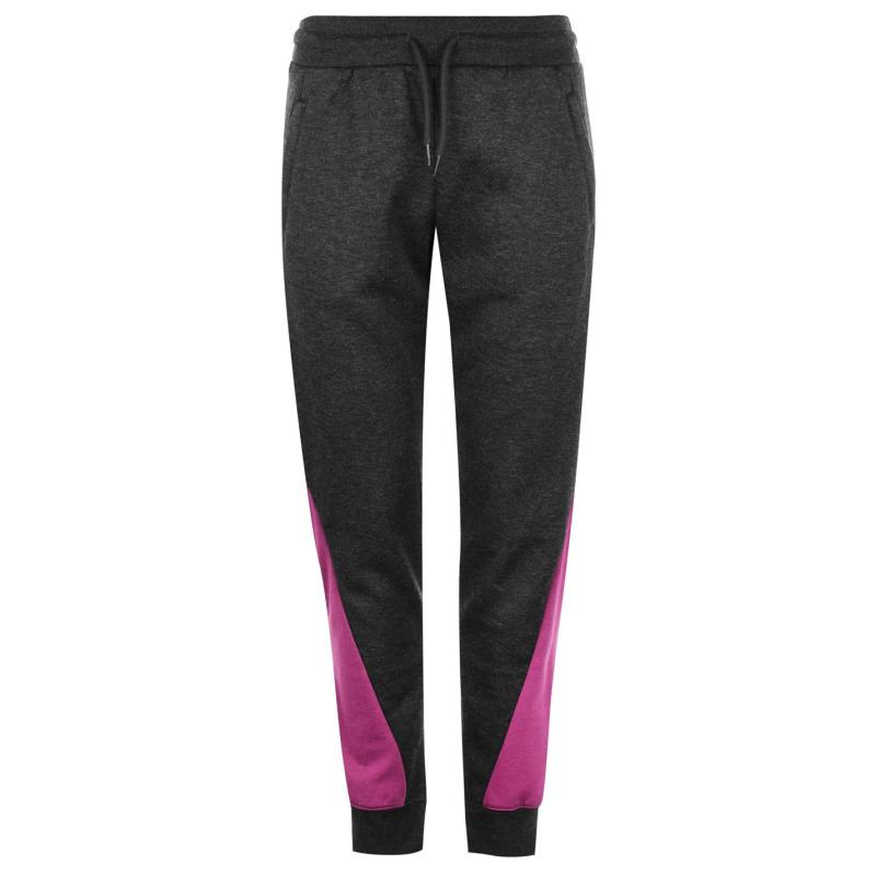 Sportovní kalhoty LA Gear Cut and Sew Jogging Pants Ladies Charcoal/Purple