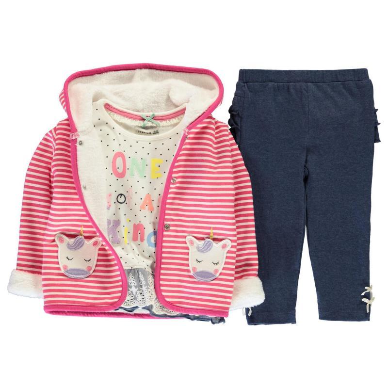 Crafted Mini 3 Piece Jacket Set Girls Infant Pink Unicorn Velikost - 9-12 měsíců