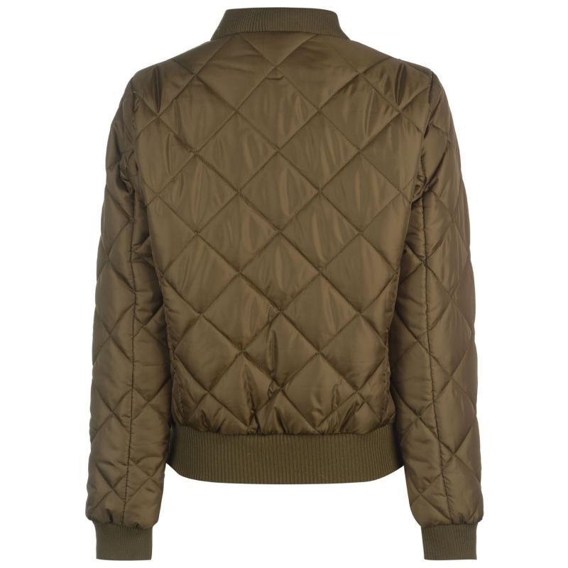 Golddigga Quilted Bomber Jacket Ladies Khaki