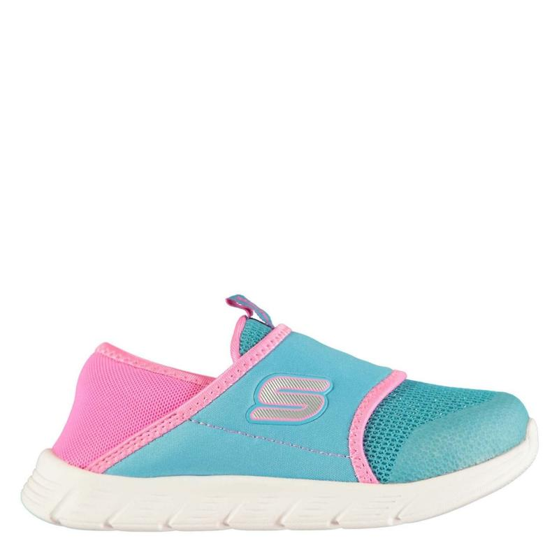Skechers Comfy Flex Shoes Infant Girls Blue Sparkle/Pi