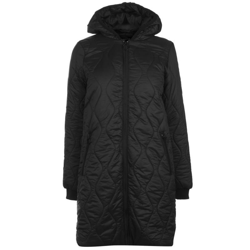 Golddigga Long Bomber Jacket Ladies Black