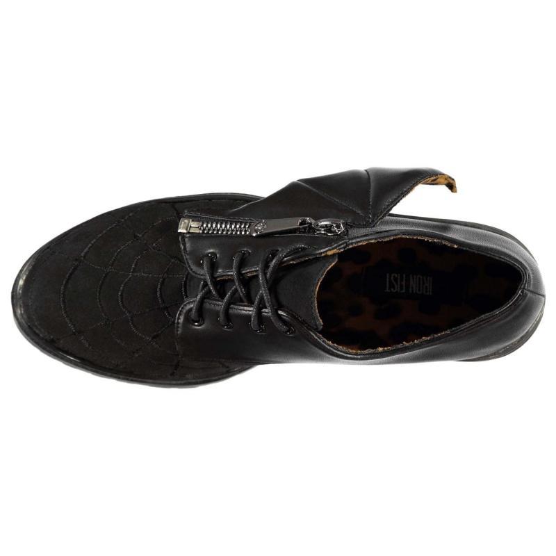 Iron Fist In My Web Derby Shoes Ladies Black/Black