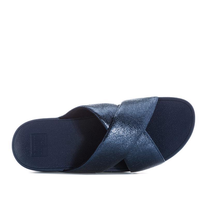 Boty Fit Flop Womens Lulu Molten Metal Cross Slide Sandals Dark Blue