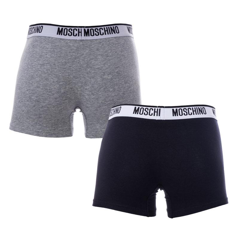 Spodní prádlo Moschino Mens 2 Pack Boxer Shorts Grey White