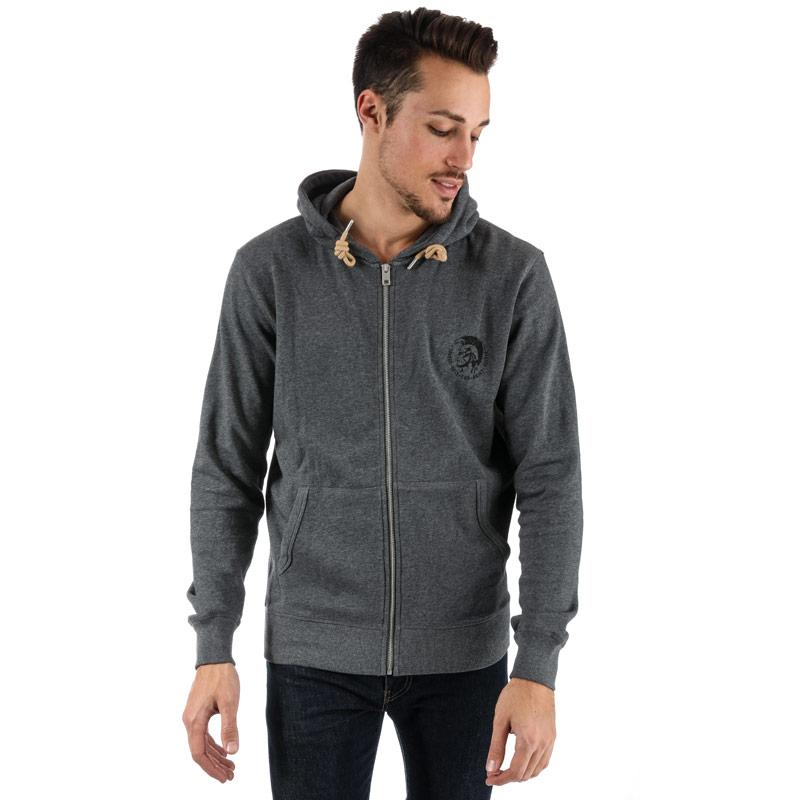 Mikina Diesel Mens Brandon Zip Through Sweatshirt Grey