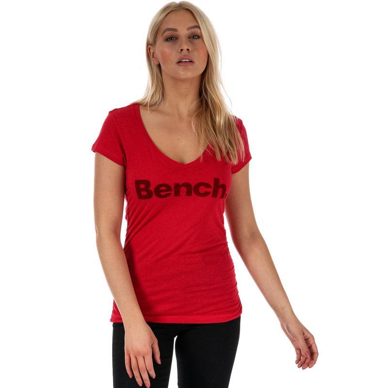 Bench Womens Put Across V-Neck T-Shirt Black