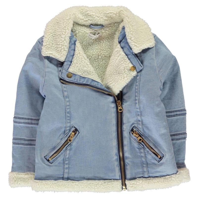 Crafted Essentials Denim Sherpa Jacket Girls Junior Denim Sherpa