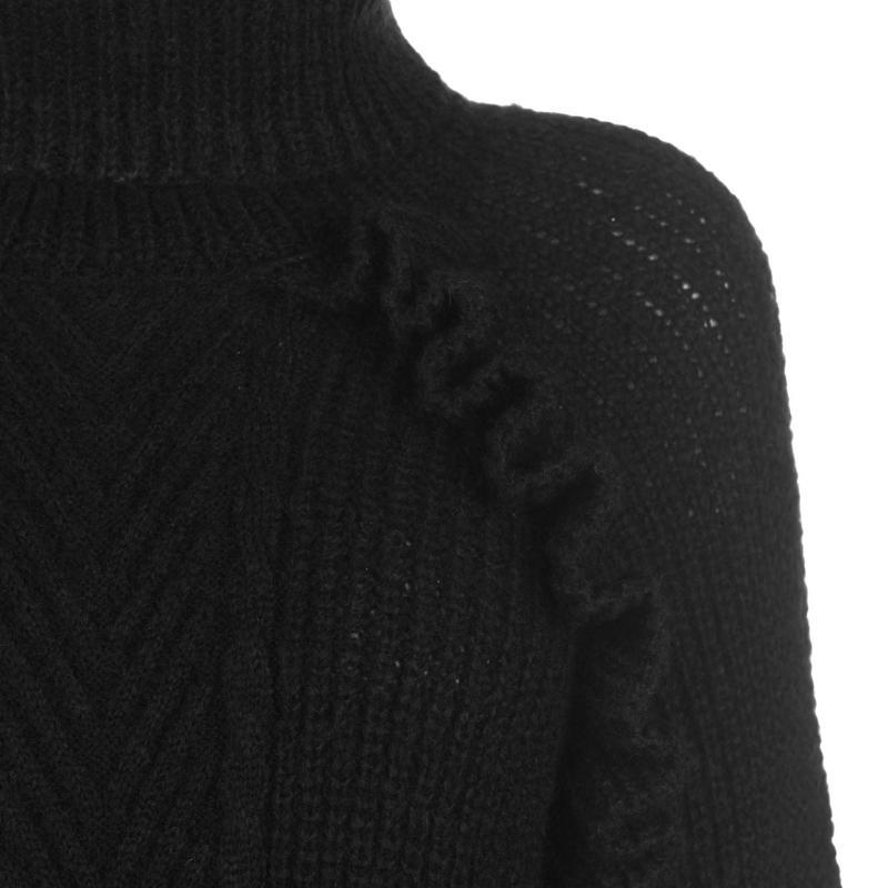 Svetr Golddigga Frill Knitted Jumper Ladies Black