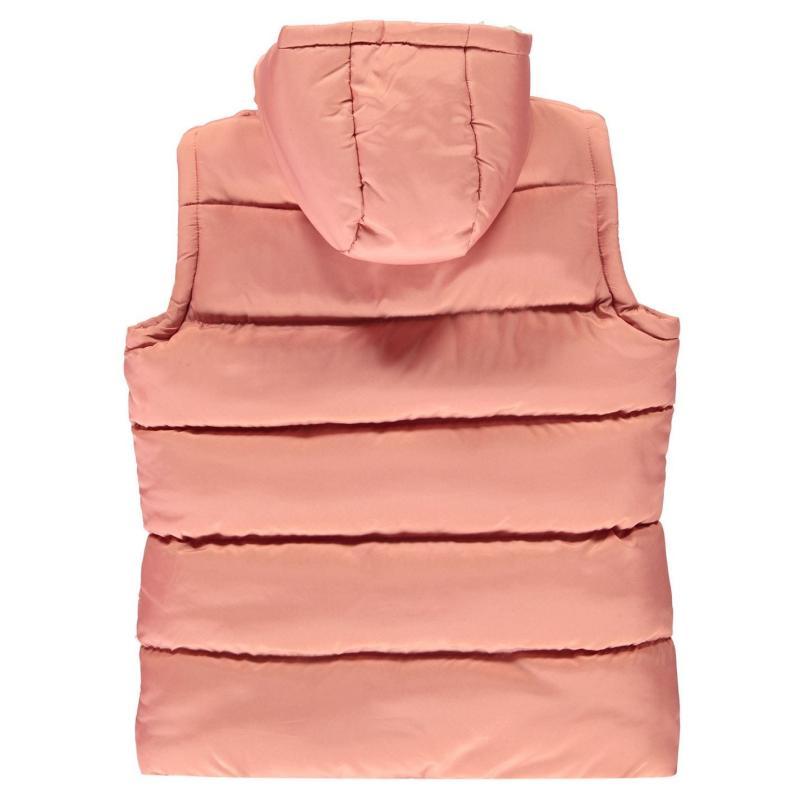 Lee Cooper Two Zip Gilet Junior Girls Dusky Pink