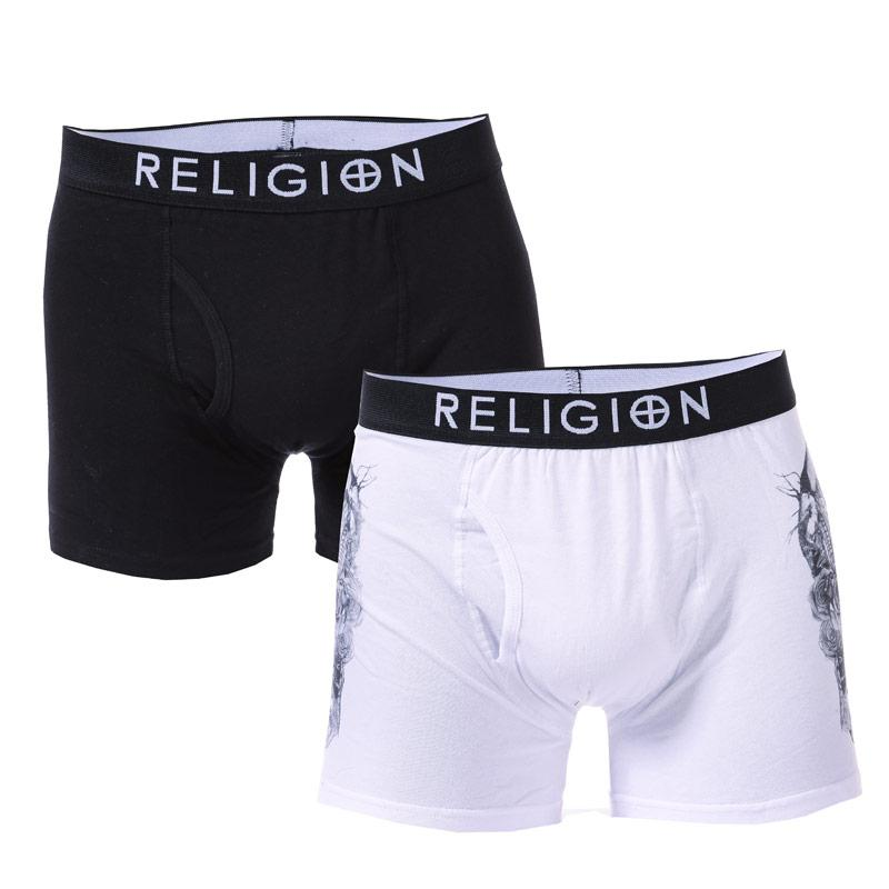 Spodní prádlo Religion Mens Skull Bug 2 Pack Boxer Shorts White