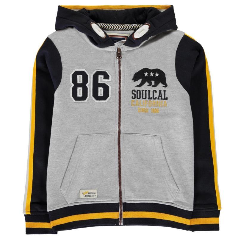 Mikina SoulCal USA Zip Hoodie Junior Boys Grey M/Navy