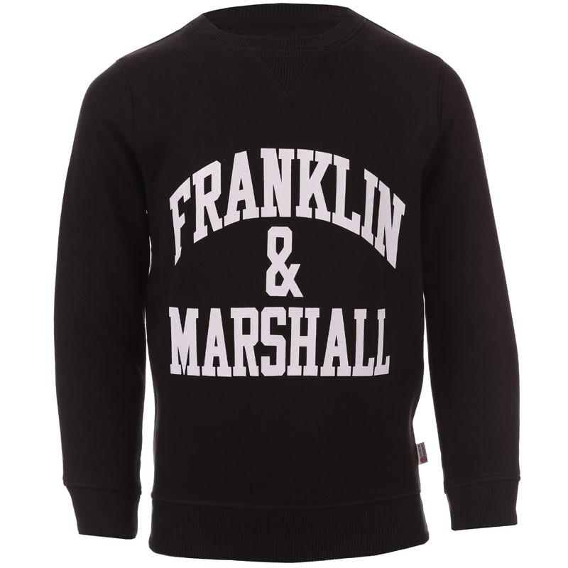 Mikina Franklin And Marshall Junior Boys F and M Crew Sweat Black