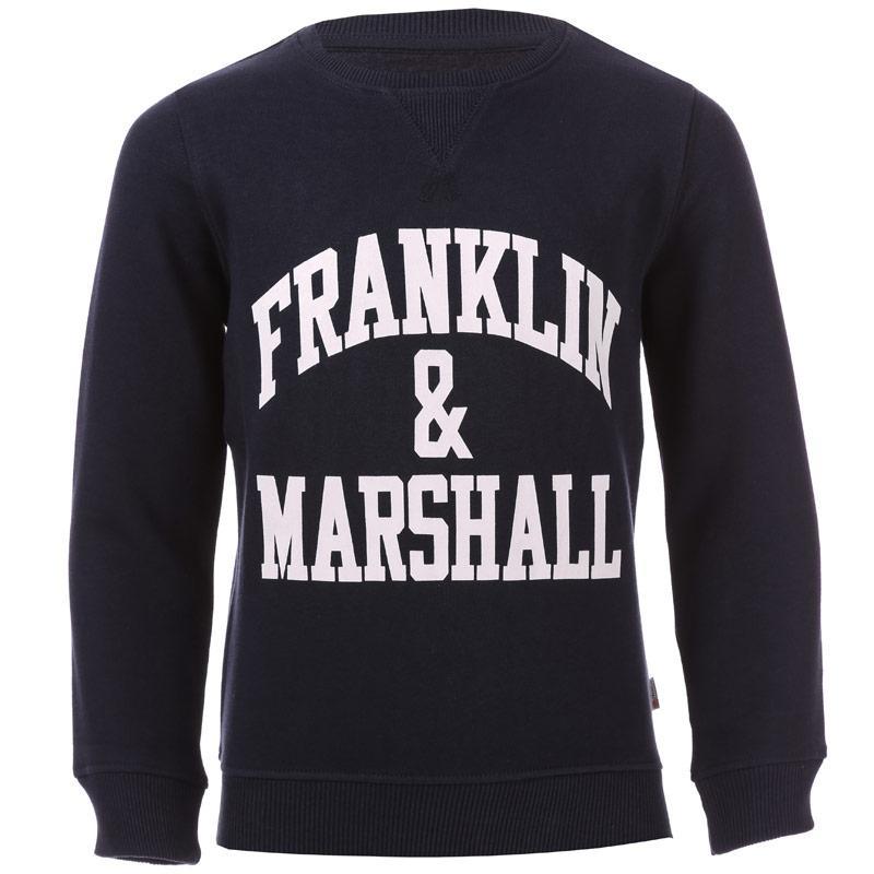 Mikina Franklin And Marshall Junior Boys F and M Crew Sweat Black