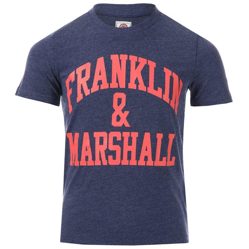 Tričko Franklin And Marshall Junior Boys F & M Logo T-Shirt Denim