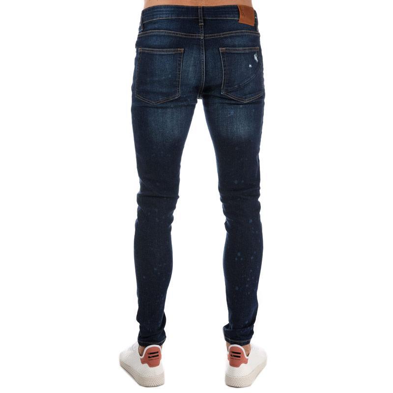 Ringspun Mens Hawker Splat Detail Skinny Jeans Blue
