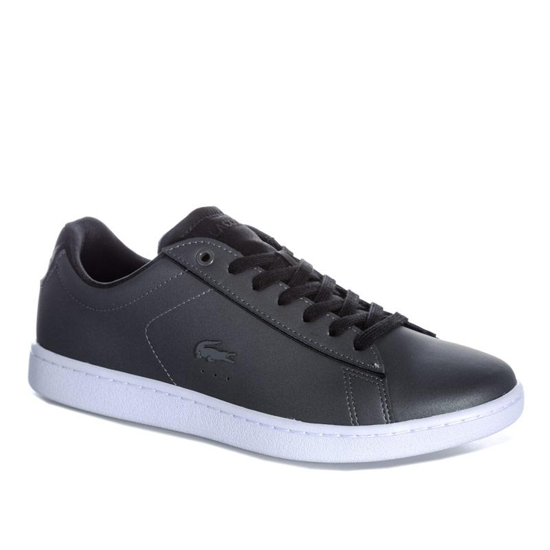 Lacoste Womens Carnaby Evo Leather Trainers Charcoal