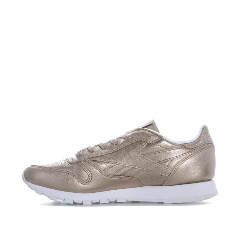 Reebok Classics Womens Classic Leather Melted Metals Trainers Gold