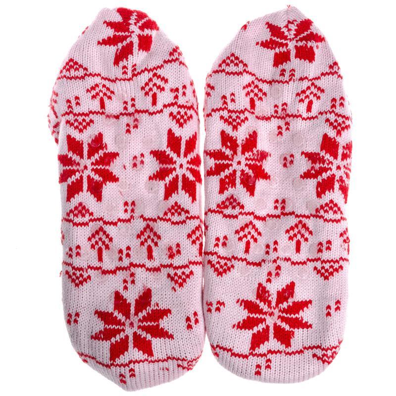 Brave Soul Womens Fairisle Slipper Socks Red