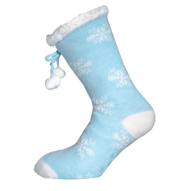 Ponožky Brave Soul Womens Snowflake Sherpa Lined Bed Socks Blue-White