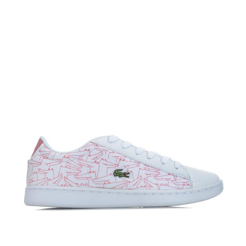Lacoste Children Girls Carnaby Evo Trainers White pink