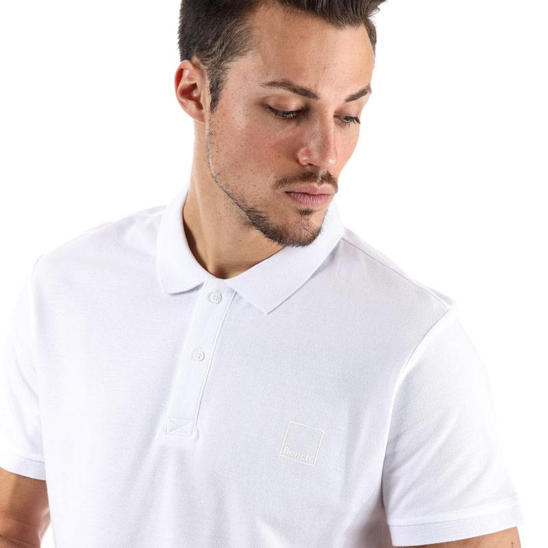 Bench Mens Classic Cotton Polo Shirt White